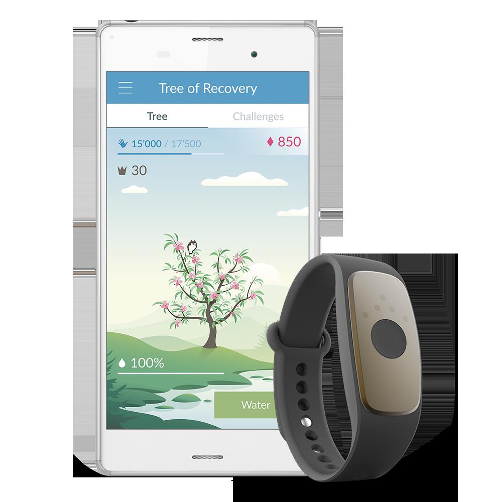 Beispiel von Arys me mit App am Handy, Armband